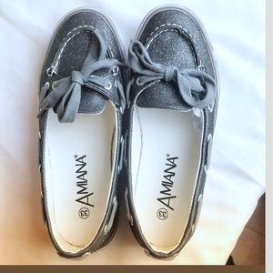 AMIANA GLITTERY BLACK PEWTER MOCCASINS